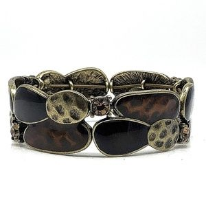 Lia Sophia Stretch Bracelet Amber Black Gold